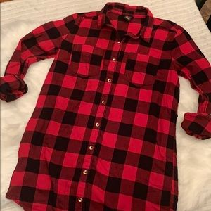Forever 21 Red Buffalo Check Plaid Button Tunic